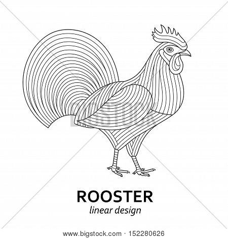 Creative stylized rooster. Good for logo, tattoo, t-shirt design. Animal background. Vector illustration