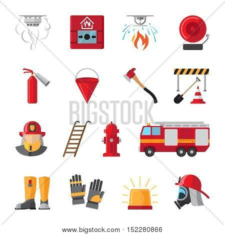Firefighting and fire safety equipment flat icons. Light buzzer and fire detector, fire station and hydrant. Vector illustration