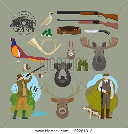 Hunting vector elements. Hunter and prey, hunting equipment and trophies