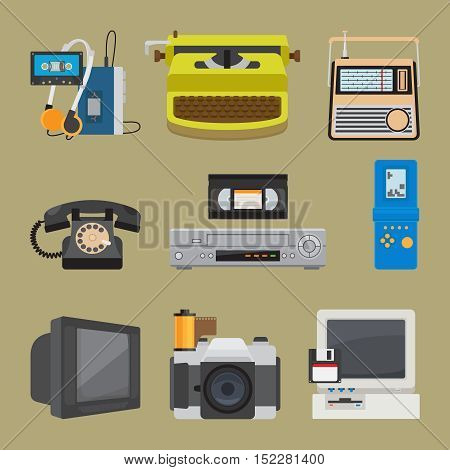 Retro gadgets icons. Portable cassette player and old pc, vintage gamepad and old camera vector illustration