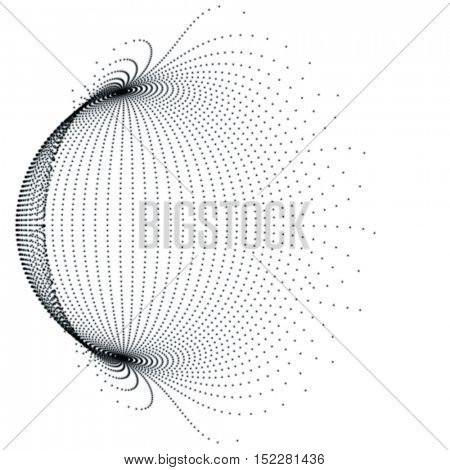 Black Sphere Background - Abstract Globe Grid - Futuristic Vector Design