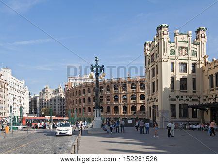 VALENCIA, SPAIN-OCTOBER 08, 2016: Plaza de Toros and Railway Station (Estacion del Nord) in Valencia, Spain
