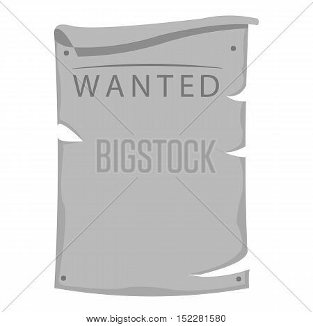 Wanted icon monochrome. Singe western icon from the wild west monochrome.