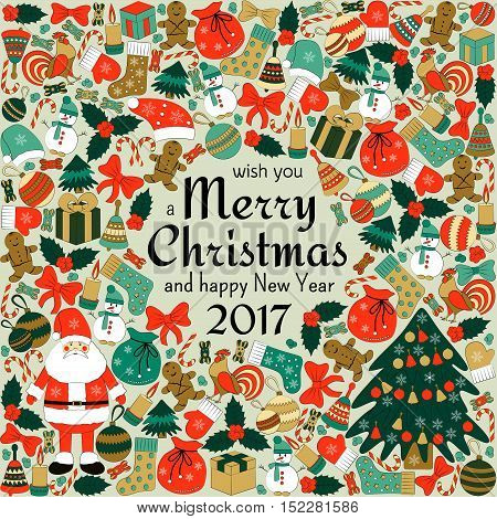 Christmas greeting card with text wish you a Merry Christmas and many winter doodles. Santa, toys, cookies, snowmen, fir, candies, socks, gifts, bows, snowflakes, stars, hollies, mittens, etc.