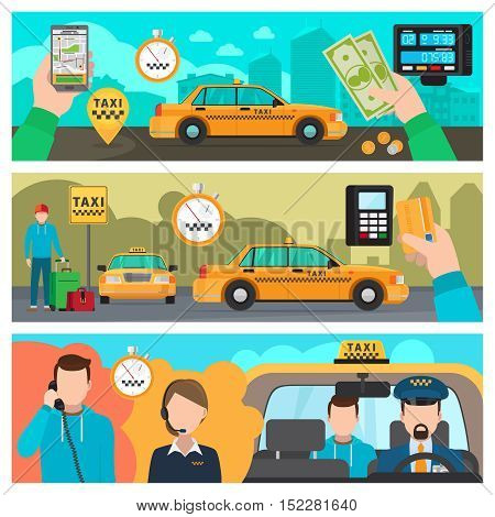 Taxi banners. City taxi transportation service vector illustration