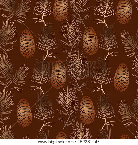 Vector xmas seamless pattern on a brown background. Include  golden pine cone, pine branch.