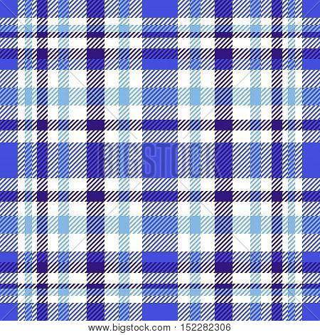 Seamless tartan plaid pattern. Navy blue, white, soft blue and cornflower blue twill.