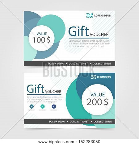 Green Circle Gift voucher template with colorful pattern cute gift voucher certificate coupon design template Collection gift certificate business card banner calling card poster Vector illustration
