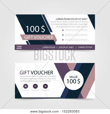 Purple Gift voucher template with colorful pattern cute gift voucher certificate coupon design template Collection gift certificate business card banner calling card poster Vector illustration