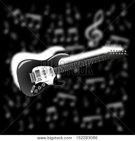 an electric guitar on a black and white blurred Vaughan notes