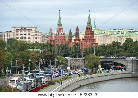 MOSCOW, RUSSIA - SEPTEMBER 07, 2016: Towers of the Moscow Kremlin, cloudy September day. Historical landmark of the city Moscow, Russia