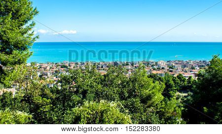 view of the city of Pescara in Italy with the Adriatic Sea in the background