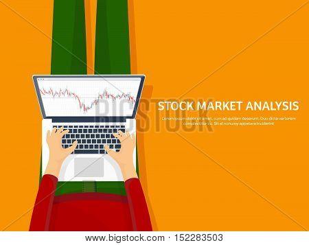 Vector illustration. Flat background. Market trade. Trading platform , account Money making business Analysis Investing