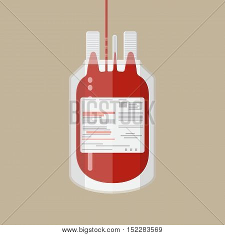 Plastic blood bag. Donate blood concept. vector illustration in flat style