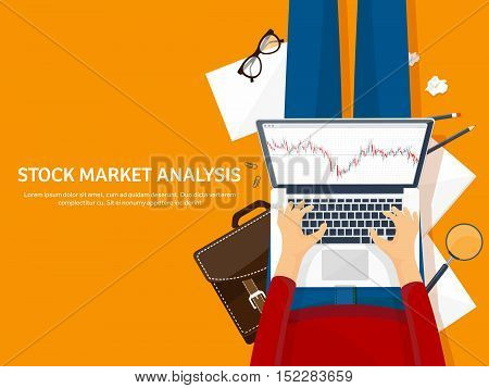 Vector illustration. Flat background. Market trade. Trading platform , account Money making business Analysis Investing