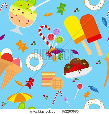Candies And Ice Cream Seamless Pattern Flat Style, Vector Illustration