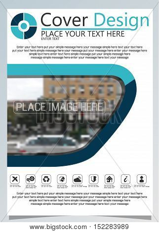 Brochure template for annual technology related repostsvector design a4 layout with space for text and photos blue ten