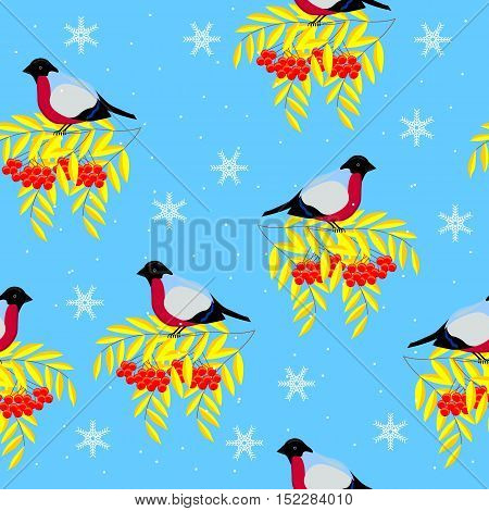 Christmas and New Year frame of the branches of mountain ash, bullfinches and snowflakes on a background of snow. Seamless pattern.
