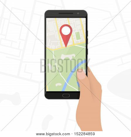Abstract generic city map with roads, buildings, parks, river. Hands and smartphone with navigation application, Vector illustration in flat design