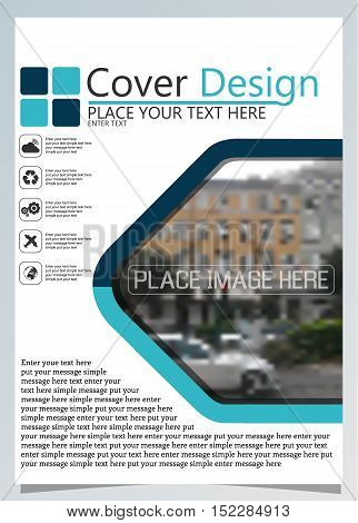 Brochure template for annual technology related repostsvector design a4 layout with space for text and photos blue two