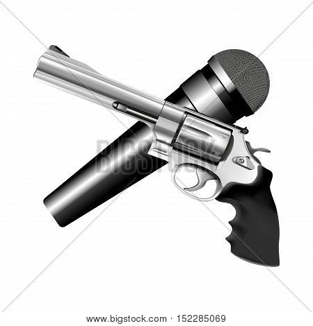 vector illustration iron microphone and iron revolver