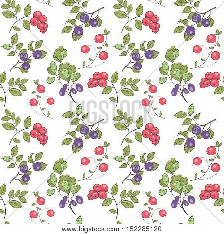 Pattern of forest berries for scrapbooking, textiles and materials.