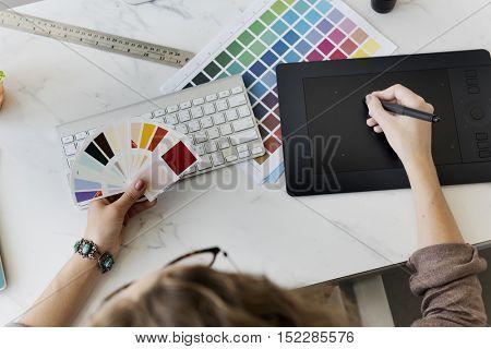 Color Shade Swatch Stationary Designer Creative Concept