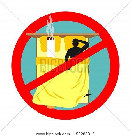 Forbidden To Smoke In Bed. Red Sign Prohibiting Smoking. Ban Smokers And Cigarette