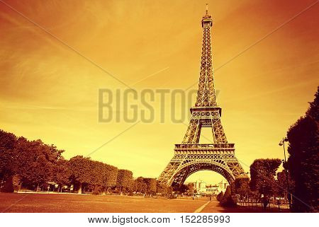 France. The symbol of Paris - Eiffel Tower at sunset.