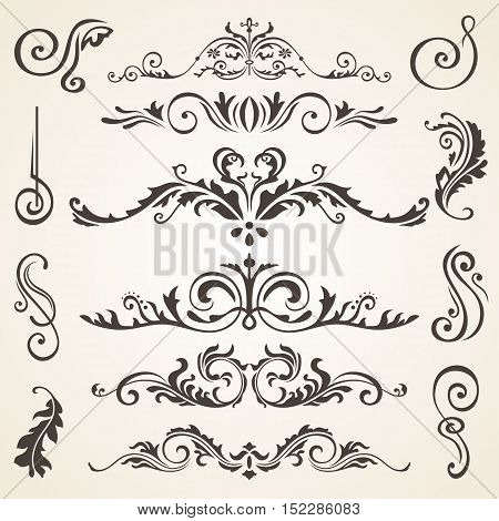 Calligraphic design dark brown elements and page decoration. Vector set to embellish your layout. Victorian design elements