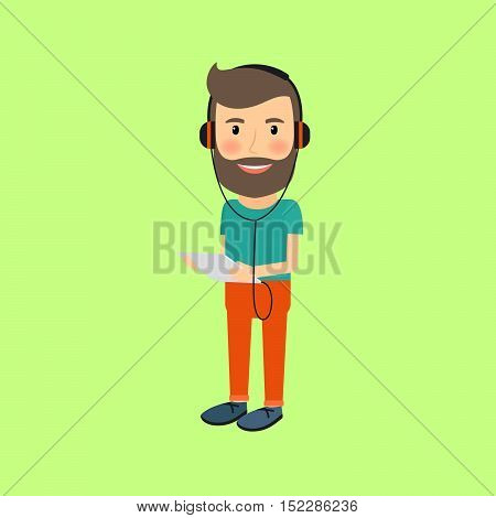 Cartoon illustration of hipster man with gadget and headphones. Vector icon