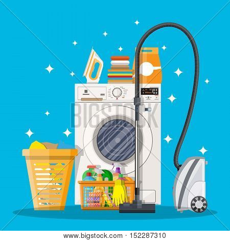 Cleaning set. washing machine, sponge, bucket, cleaning products in bottle for floor and glass, rubber gloves, vacuum cleaner. vector illustration in flat design on blue background