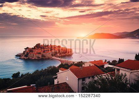 Sveti Stefan Island At Sunrise. Adriatic Sea, Montenegro