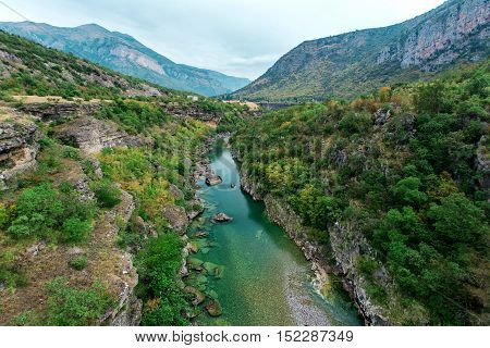 Morača River Canyon At Summertime, Nature Landscape. Montenegro