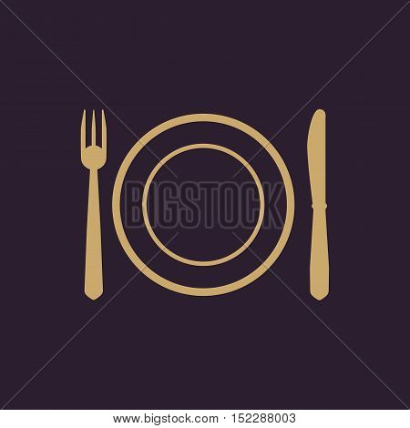 The Plate dish with fork and knife icon. Plate dish with fork and knife symbol. Flat Vector illustration