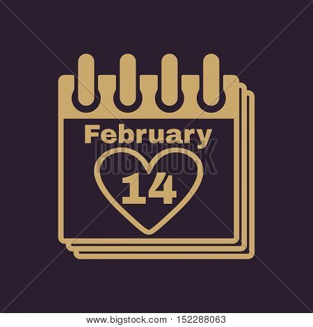 The calendar icon. Valentines day symbol. Flat Vector illustration