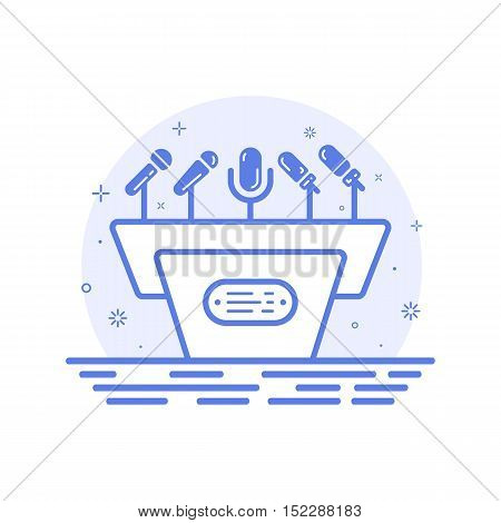 Vector illustration of icon concept tribune with microphones in line style. Scene for presentation, public interview, conference, debate. Podium for presentation and seminar. Outine design isolated.