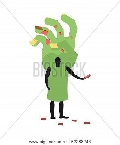 Zombie Hand Costume Man Mascot Promoter. Male In Suit Green Arm Distributes Flyers. Puppets Monster