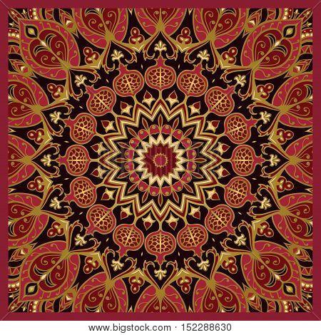 Oriental pattern of mandala. Vector rich dark background. Template for textile carpet cushion shawl.