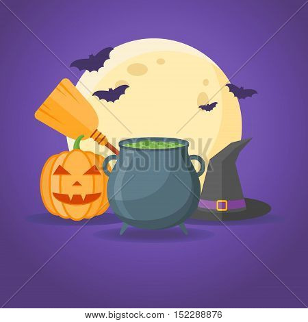 Halloween design with cauldron with potion, witches hat, broom, pumpkin, full moon and bats on dark purple background. Vector illustration.