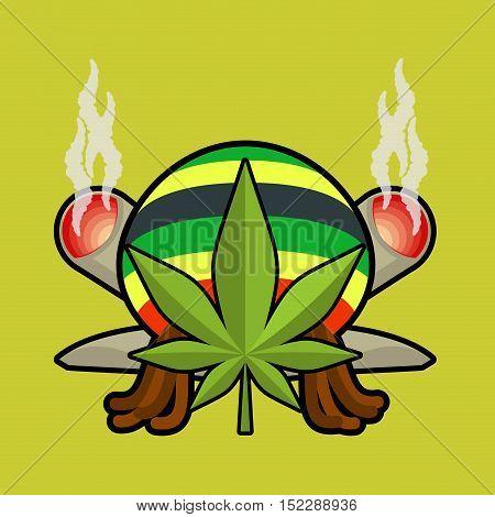 Rasta Logo. Cannabis Leaf And Joint Or Spliff. Rastaman Cap And Dreadlocks. Emblem For Rastafarian.