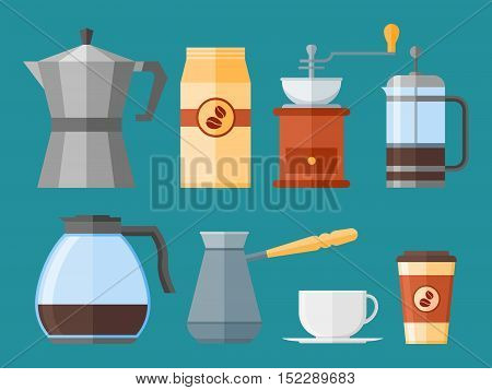Set of coffee elements in flat style. French press, coffee cup, pot, grinder and packaging, coffee makers isolated on background. Vector illustration.
