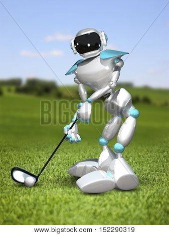 3D Illustration Robot Golfer on the Field