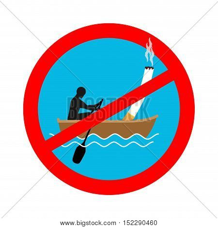 Forbidden To Smoke On Boat. Red Sign Prohibiting Smoking. Ban Smokers And Cigarette