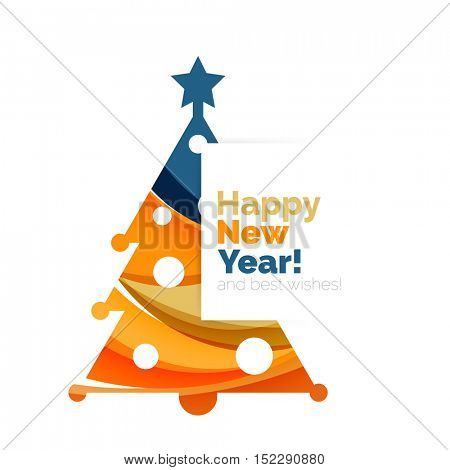 Happy New Year and Chrismas holiday greeting card elements. Geometric banner
