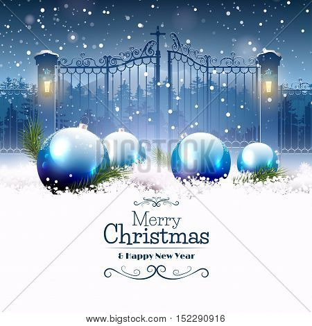 Luxury Christmas greeting card with blue baubles in the snow and open gate on the background