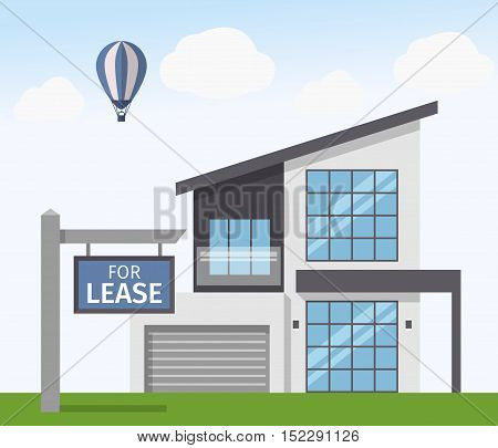 House for Lease sign. Vector illustration in flat style
