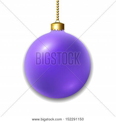 Merry Christmas 3D ball decoration. Purple glass bauble isolated on white background. Bright shiny decorative holiday design. symbol Xmas Happy New Year celebration. Vector illustration