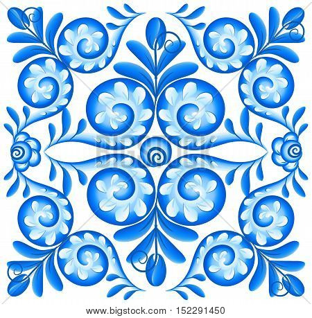 Blue vector floral square napkin in Russian gzhel style