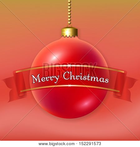Merry Christmas 3D bauble decoration with text ribbon. Red and gold ball isolated on light-blue background. Bright design holiday banner. Xmas Happy New Year celebration. Vector illustration